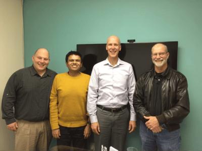 (L to R) Tony Busciglio (Acumen), Ashit Vora (Acumen), Mark Minnoch (SafeLogic), Steve Marquess (OpenSSL) Not pictured: Ryan Thomas (Acumen)